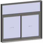 sliding window 2 rails 2 leaves with transom