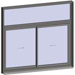 sliding window 2 rails 2 leaves with transom