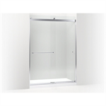 """k-706168 levity™ sliding shower door, 82"""" h x 56-5/8 - 59-5/8"""" w, with 5/16"""" thick crystal clear glass and towel bars"""