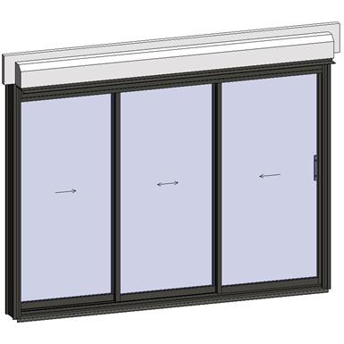 sliding window 3 rails 3 leaves with shutter