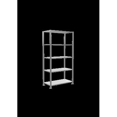 fachbodenregal stecksystem, grundregal, multiplus150, 2000 x 1000 x 500 mm, 5 fachböden, kreuzstrebe, verzinkt