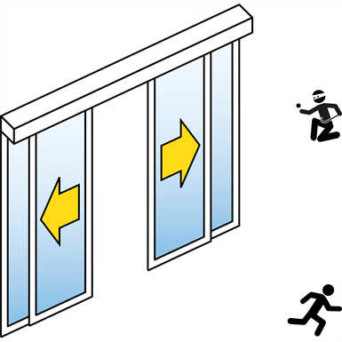 Automatic Sliding Door (Burglar-Resistant RC2/RC3) - Bi-parting - With side panels - In wall - SL/PSXP-RC