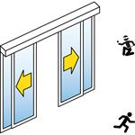 automatische schiebetür (einbruchhemmend rc2/rc3) - 2-flüglig - mit seitenteil - wandmontage - sl/psxp-rc