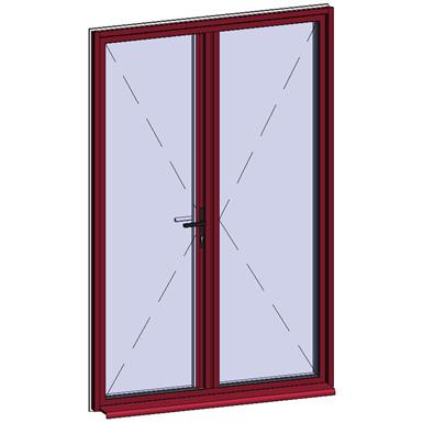 door window opening inside leaf with lock