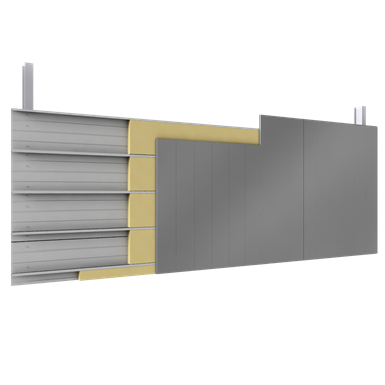 Double skin with steel alu siddings vertical position trays insulation
