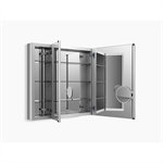 "Verdera® 40"" W x 30"" H aluminum medicine cabinet with adjustable magnifying mirror and slow-close door"