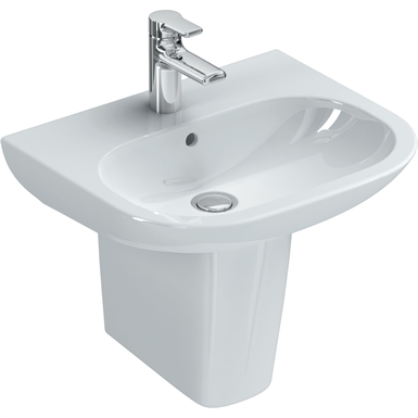 softmood washbasin 550x460mm, 1 taphole, with overflow