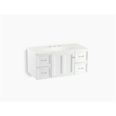 "Damask® 42"" wall-hung bathroom vanity cabinet with 1 door and 4 drawers"