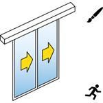porte coulissante automatique (cadre fin) - 2 vantaux tele - sans parties fixes - sl/psa