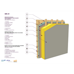 straw infill wall & outdoor shifted simple wood frame structure