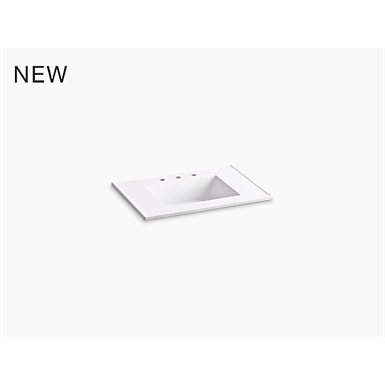 """ceramic/impressions® 31"""" rectangular vanity-top bathroom sink with 8"""" widespread faucet holes"""