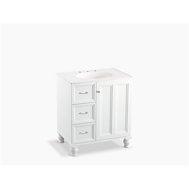 "Damask® 30"" bathroom vanity cabinet with furniture legs, 1 door and 3 drawers on left"