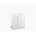 """damask® 30"""" bathroom vanity cabinet with furniture legs, 1 door and 3 drawers on left"""