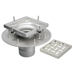 Adjustable Floor Drain with 8in. x 8in. Square Top, Shallow Body - BFD-120