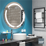 round mirror with 3 integrated led light bands and defogger ø90cm