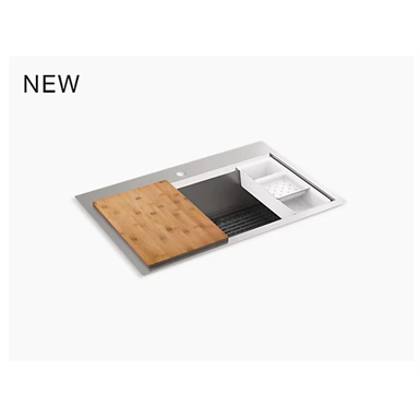 "task™ 33"" x 22"" top-mount/undermount single-bowl workstation kitchen sink with accessories"