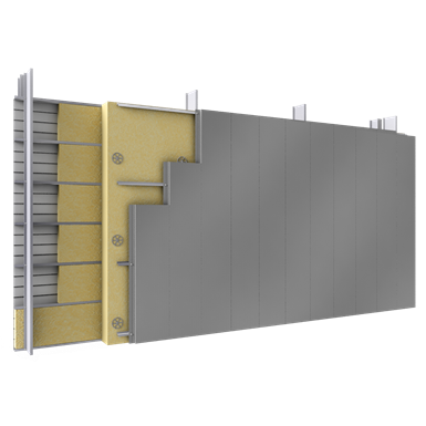 double skin with steel alu siddings v position tray spacers insulation
