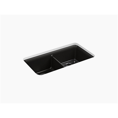 "cairn® 33-1/2"" x 18-5/16"" x 10-1/8"" neoroc® under-mount double-equal kitchen sink with sink rack"