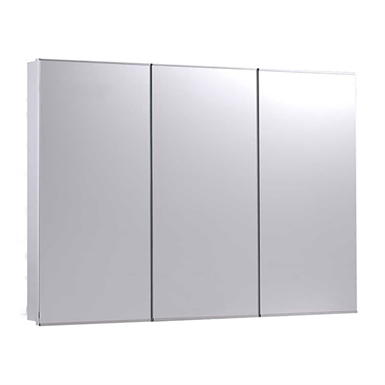 "Tri-View Series Stainless Steel Frame Medicine Cabinet - 36"" x 30"" Semi-Recessed Mounted"