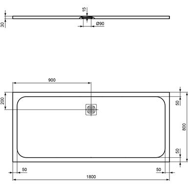 Ultraflt S S Tray 180x80 Conc Gr Rect Ideal Standard Free Bim