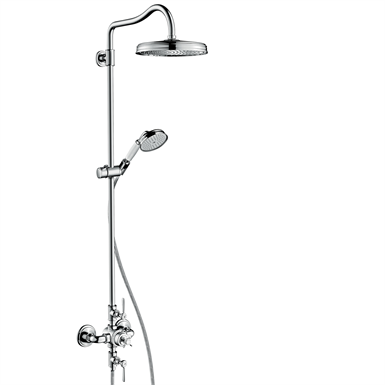 AXOR Montreux Showerpipe with thermostat and overhead shower 240 1jet 16572000