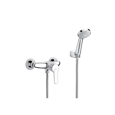 V2 | VICTORIA Wall-mounted shower mixer, flexible shower hose and wall bracket