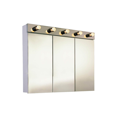 "Tri-View Illuminated Series Polished Edge Medicine Cabinet - 36"" x 34 1/4"" Surface Mounted"