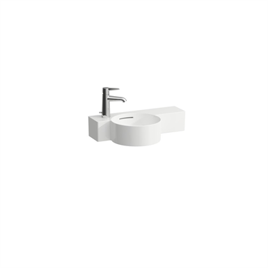 VAL Small washbasin round, shelf right, cutable to 430 mm