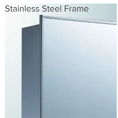 "Euroline Series Stainless Steel Frame Medicine Cabinet - 18"" x 36"" Partially Recessed Mounted"