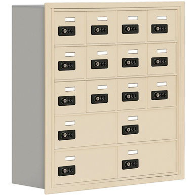 19000 Series Cell Phone Lockers-Recessed Mounted-5 Door High Units-8 Inch Deep Compartments