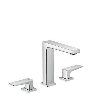 Metropol 3-hole basin mixer 160 with lever handles and push-open waste set 32515000