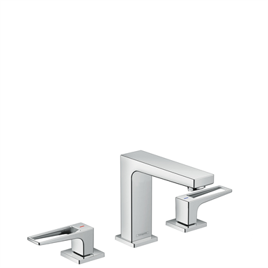 Metropol 3-hole basin mixer 110 with loop handles and push-open waste set 74514000