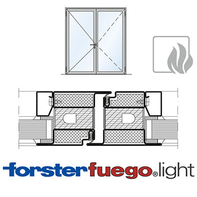 Door Forster fuego light EI60, double leaf