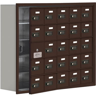 19100 Series Cell Phone Lockers-Recessed Mounted-5 Door High Units-8 Inch Deep Compartments