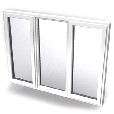 Intakt inward opening window 2+1 glass 3-light with mullions Middle fixed