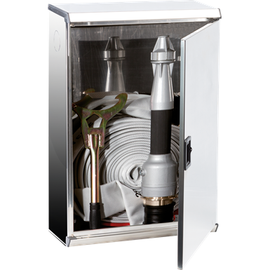 "2/MPX FIRE HOSE SYSTEM FOR FIRE SERVICE USE DN 70 - ""Electa"" METAL DOOR STAINLESS STEEL CABINET"
