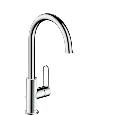 AXOR Uno Single lever basin mixer 240 with loop handle and pop-up waste set 38036000