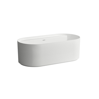 SONAR Freestanding bathtub with tap bank and surface structure, made of Marbond composite material