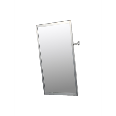 "Accessible Mirror Series Stainless Steel Frame Adjustable Tilt Mirror - 16"" x 30"" Surface Mounted"