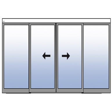 FRAME DOUBLE SLIDING DOOR WITH TWO FIXED PANELS - SURFACE