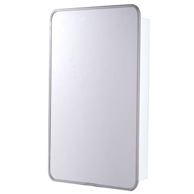 "Round Corner Series Stainless Steel Frame Medicine Cabinet - 16"" x 28"" Surface Mounted"