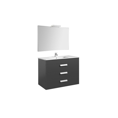 DEBBA 1000 Pack: Base unit w/ 3 drawers, basin, mirror and spotlight