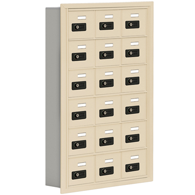 19000 Series Cell Phone Lockers-Recessed Mounted-6 Door High Units-5 Inch Deep Compartments