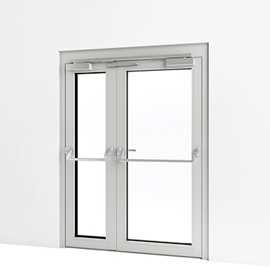 Exterior Double Door W Panic Push Bar Assa Abloy Be