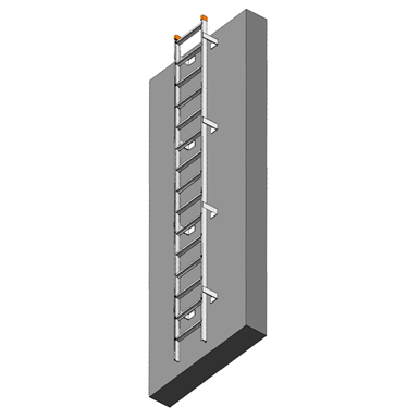 FIXED ALUMINUM LADDER TO ROOF HATCH (NO CAGE) (Precision Ladders
