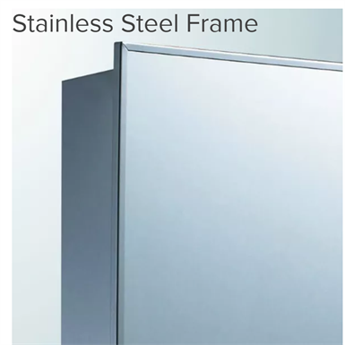 "Stainless Steel Series Stainless Steel Frame Medicine Cabinet - 16"" x 26"" Recessed Mounted"