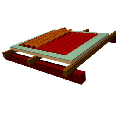 Onduline Integral ETICS roofing: ONDUTHERM Sandwich Panel´s Fir-wood panelling finishing  + Underroofing Sheet Onduline DRS BT-150 Plus + curved tiles