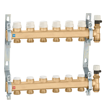 Distribution manifold group with shut-off and lockshield valves