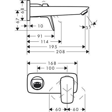 Logis Single lever basin mixer for concealed installation wall-mounted with spout 19.5 cm 71220000