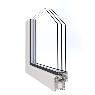Double Casement Window - Covered block frame installation - ALPHALUCE - OF2